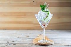 Le barman à la mode tonique d'hôtel de genièvre de barre d'alcool de cocktail garnissent photographie stock
