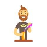 Le barman de sourire équipent le caractère se tenant à la contre- boisson alcoolisée de versement de barre illustration stock