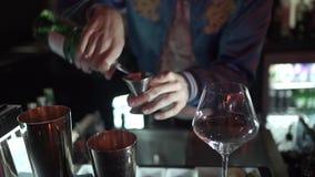 Le barman expert fait le cocktail à la boîte de nuit clips vidéos