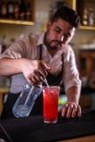 Le barman finit de préparer un cocktail image stock