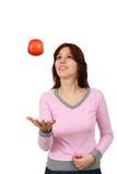 le barn för äppleflicka Arkivbild