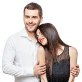 le barn för härlig stående för par lycklig royaltyfria bilder