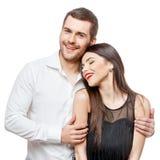 le barn för härlig stående för par lycklig royaltyfria foton