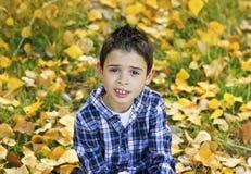 Le barnet i höstsidor Fotografering för Bildbyråer