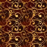 Le baroque d'or tourbillonne sur le modèle sans couture rouge et de luxe Image stock