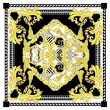 Le baroque sans couture avec l'écharpe noire blanche de couleur d'or illustration libre de droits