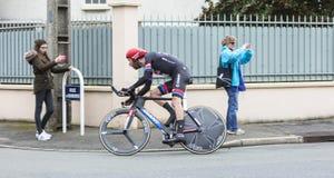 Le barrage de Laurens dix de cycliste - 2016 Paris-gentil photo libre de droits