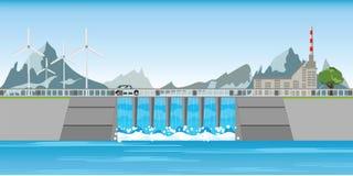 Le barrage et les moulins à vent entre les montagnes illustration libre de droits