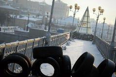 Le barriere a Kiev, Ucraina fotografia stock libera da diritti