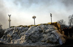 Le barriere a Kiev, Ucraina Fotografia Stock