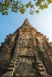 Le bas ange a tiré du panneau de soulagement de stuc dépeignant la scène de la vie du Bouddha et de l'arbre images libres de droits