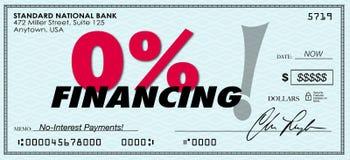 Le bas de financement de pour cent zéro de 0% aucun remboursement de prêt d'intérêt Photos libres de droits