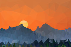 Le bas poly coucher du soleil et les montagnes d'illustration de vecteur aménagent en parc Images stock