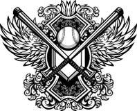 Le base-ball de base-ball manie la batte le descripteur graphique fleuri Photographie stock