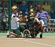 Le base-ball de ligue de miracle pour les enfants handicapés Photographie stock libre de droits