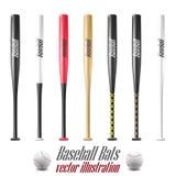 Le base-ball et les battes de baseball ont placé d'isolement sur le fond blanc Image libre de droits