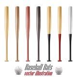 Le base-ball et les battes de baseball ont placé d'isolement sur le fond blanc Photo stock