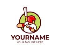Le base-ball, joueur de baseball tient la batte de baseball, calibre de logo Sport et base-ball professionnel, joueur de sports e illustration libre de droits