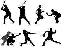 Le base-ball silhouette la collection 3 Image libre de droits