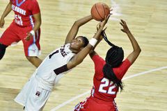 2015 le basket-ball des femmes de NCAA - temple contre l'état du Delaware Photo stock