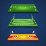 Le basket-ball du football du football met en place l'infographics Photos stock