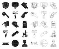 Le basket-ball et les attributs noircissent, décrivent des icônes dans la collection d'ensemble pour la conception Symbole de vec illustration libre de droits