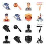 Le basket-ball et les attributs noircissent, des icônes de bande dessinée dans la collection d'ensemble pour la conception Symbol Illustration Libre de Droits