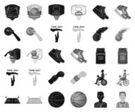 Le basket-ball et les attributs noircissent, les icônes monochromes dans la collection d'ensemble pour la conception Vecteur de j illustration stock