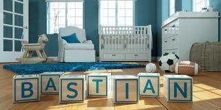 Le bastian de nom écrit avec les cubes en bois en jouet chez la pièce du ` s des enfants Photo libre de droits
