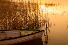 Le bateau accouplé sur le Lac Balaton Photo libre de droits