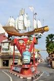 Le bateau de Cheng Ho dans la rue de Melaka Images stock