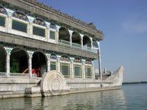 Le bateau de marbre immobile sur le bord du lac Kunming Images stock
