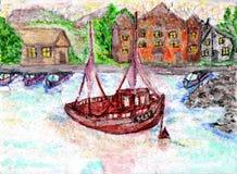 Le bateau de photo dans la mer et les maisons sur le rivage photos libres de droits