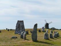 Le bateau de pierre de Viking dans Gettlinge Image stock