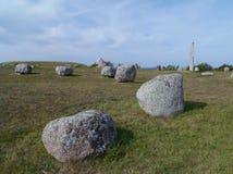 Le bateau de pierre de Viking dans Gettlinge Photographie stock libre de droits