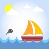 Le bateau de yacht de voile voient dessus illustration stock