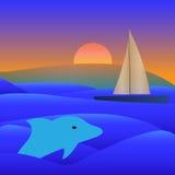 Le bateau de yacht de voile voient dessus l'illustration de vecteur Images stock