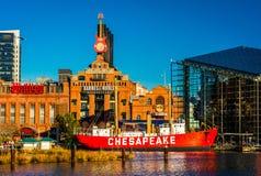 Le bateau-phare de centrale électrique et de chesapeake dans le port intérieur de B Image libre de droits