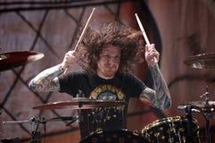 Le batteur Andy de Fall Out Boy lancent Photographie stock libre de droits