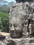 Visage en pierre de Bayon aux temples d'Angkor, Cambodge photographie stock