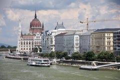 Le beau bâtiment du bâtiment hongrois du Parlement de Budapest Images libres de droits