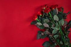 Le beau bouquet en gros plan de roses rouges sur le fond rouge pour valen Images stock