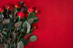Le beau bouquet en gros plan de roses rouges sur le fond rouge pour valen Photographie stock libre de droits