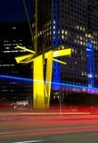 Le beau centre ville de la vue de nuit de Dallas de ville photo stock