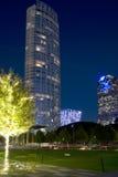 Le beau centre ville des scènes de nuit de Dallas images stock