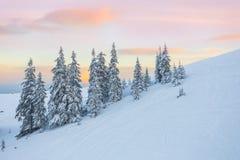 le beau coucher du soleil dans les collines ensoleillées des Alpes affecte le viewer& x27 ; imagination de s Images stock