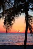 Le beau coucher du soleil sur la plage, le soleil descend à la mer Paume sur le bayshore Calme ambiant, concept de repos et déten image libre de droits