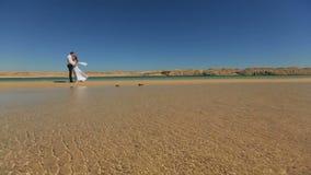 Le beau couple de mariage étreint tendrement sur la plage en Egypte pendant le jour ensoleillé banque de vidéos