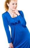 Le beau femme dans la robe bleue Photographie stock