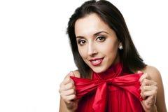 Le beau femme heureux avec cintrer-attachent Photographie stock libre de droits